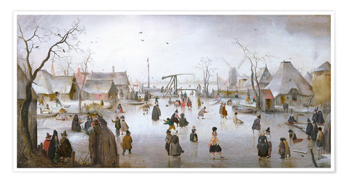 Premium poster Winter landscape with skaters