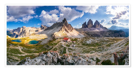 Premium poster Panorama of Refuge Antonio Locatelli, South Tyrol