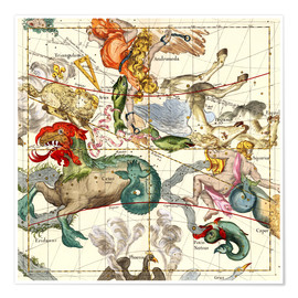Poster  Celestial Atlas, plate 2 - Ignace Gaston Pardies