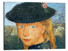 Alu-Dibond  Head of a little girl with straw hat - Paula Modersohn-Becker