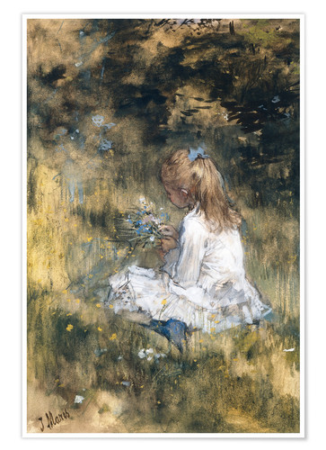 Premium poster Daughter of Jacob Maris with flowers in the grass