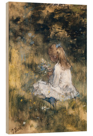 Wood print  Daughter of Jacob Maris with flowers in the grass - Jacob Maris