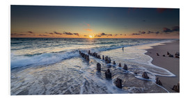 Foam board print  Groynes in the sunset - Heiko Mundel