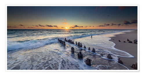 Premium poster Groynes in the sunset