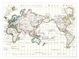 Premium poster World map around 1795