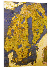 Foam board print  The Scandinavian peninsula in the 16th century - Ignazio Danti