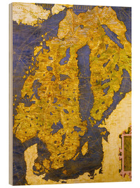 Wood print  The Scandinavian peninsula in the 16th century - Ignazio Danti