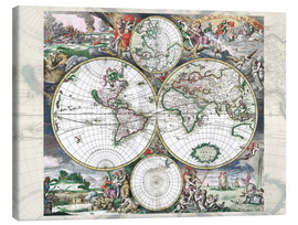 Canvas print  Great World Historical Map 1689 - Gerard van Schagen