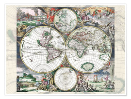 Premium poster Great World Historical Map 1689