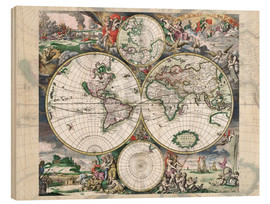 Wood print  Great World Historical Map 1689 - Gerard van Schagen