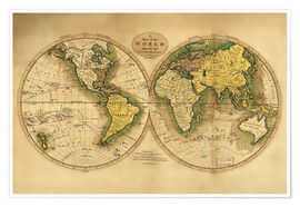 Premium poster Map of the world around 1780