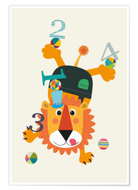 Premium poster Colourful counting lion