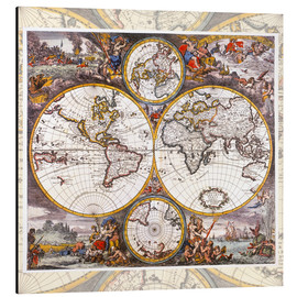 Jakob Folkema - World map with the four elements (around 1700)