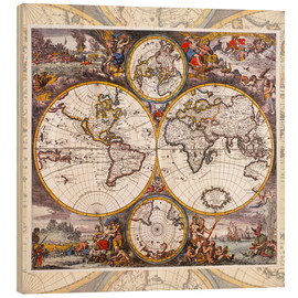 Wood print  World map with the four elements (around 1700) - Jakob Folkema