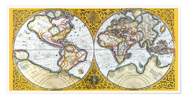 Premium poster World map around 1587
