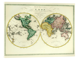 Acrylic print  World map around 1806 - Joseph Wüstinger