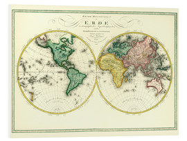 Foam board print  World map around 1806 - Joseph Wüstinger