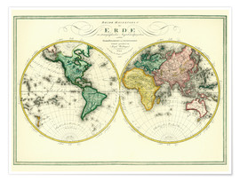 Premium poster World map around 1806