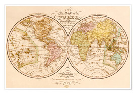 Poster World map around 1844