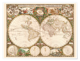 Premium poster World map around 1660