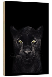 Wood print  Black panther on a black background - Valeriya Korenkova