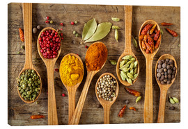 Canvas  Colorful spices in wooden spoons - Elena Schweitzer