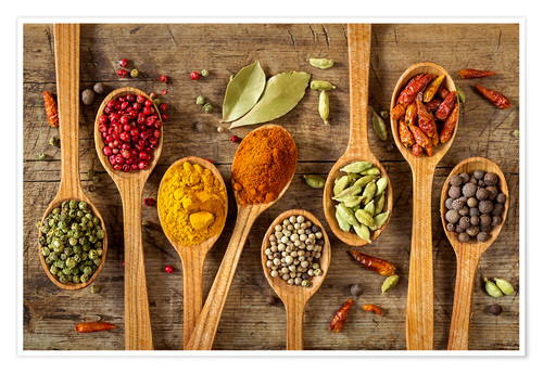 Poster Colorful spices in wooden spoons