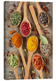 Canvas print  Colorful spices in wooden spoons - Elena Schweitzer