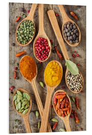 Foam board print  Colorful spices in wooden spoons - Elena Schweitzer