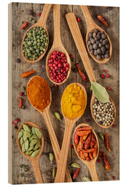 Wood print  Colorful spices in wooden spoons - Elena Schweitzer