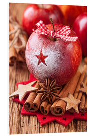 Foam board print  Red winter apples with cinnamon sticks and anise - Elena Schweitzer