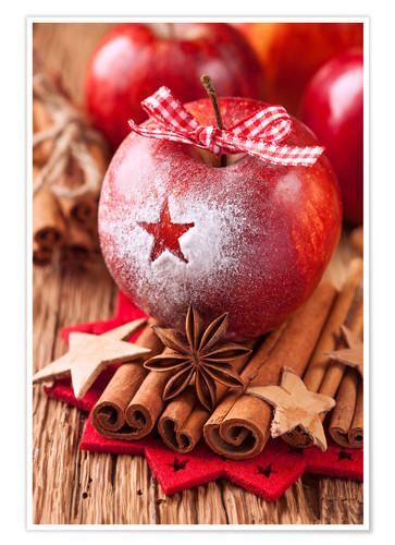 Premium poster Red winter apples with cinnamon sticks and anise