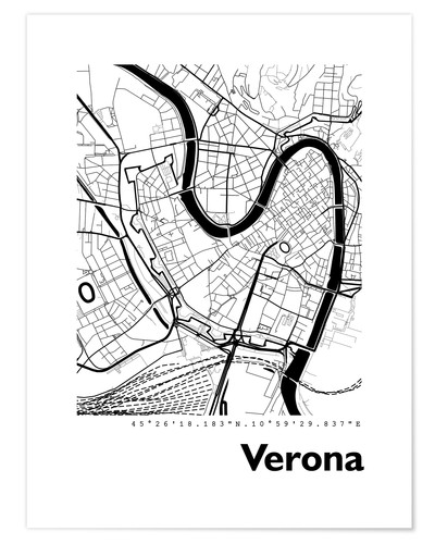 Premium poster City map of Verona