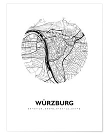 Premium poster City map of Würzburg