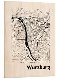 Wood print  City map of Würzburg - 44spaces