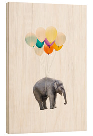 Wood print  Elephant with colorful balloons - Radu Bercan