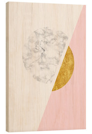 Wood print  Scandinavian design with marble and gold - Radu Bercan
