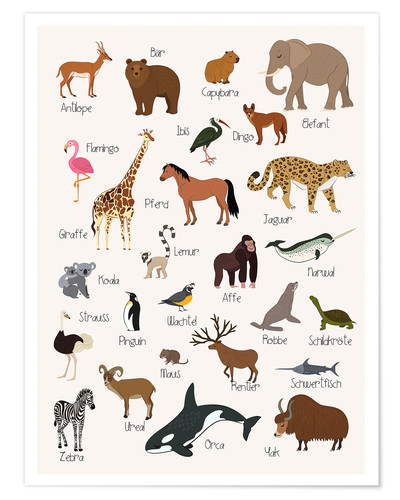 Poster Favorite animals (German)