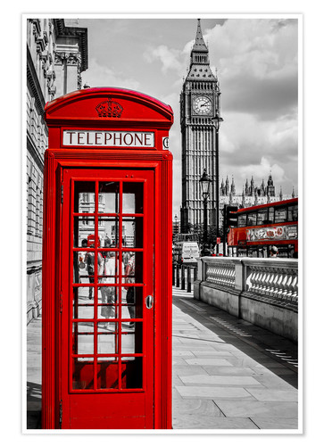 London Telephone Box And Big Ben Posters And Prints