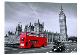 Acrylic glass  Red bus on Westminster Bridge, London - Art Couture