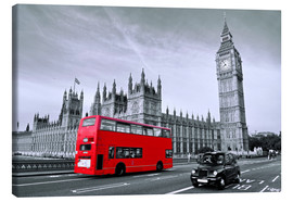 Canvas  Red bus on Westminster Bridge, London - Art Couture