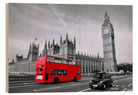Wood  Red bus on Westminster Bridge - Art Couture