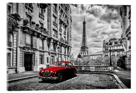 Acrylic glass  Paris in black and white with red car - Art Couture