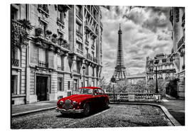 Aluminium print  Paris in black and white with red car - Art Couture