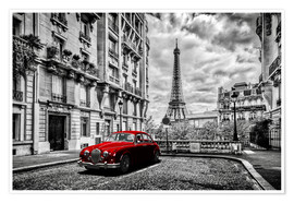 Poster  Paris in black and white with red car - Art Couture