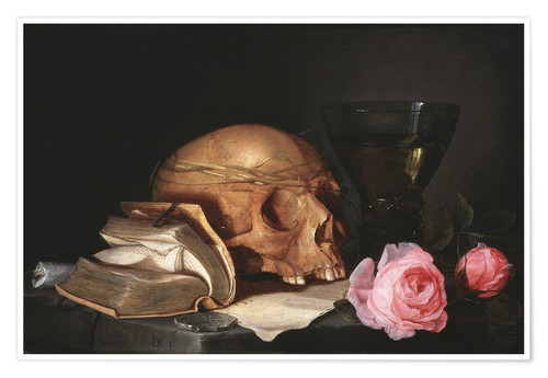 Premium poster A Vanitas Still Life with a Skull, a Book and Roses