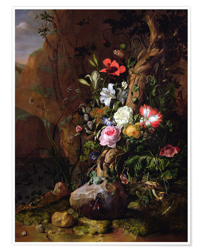 Premium poster Tree trunk surrounded by flowers, butterflies and animals