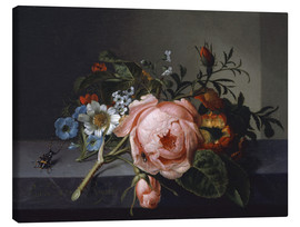 Canvas print  Still Life with Rose Branch, Beetle and Bee - Rachel Ruysch