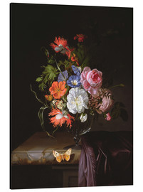 Rachel Ruysch - A Still Life of Flowers in a vase on a ledge