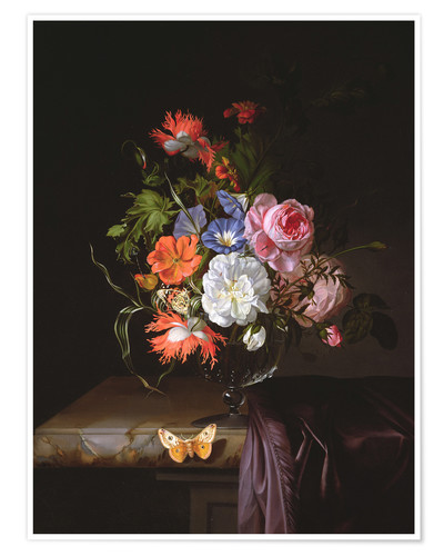 Premium poster A Still Life of Flowers in a vase on a ledge